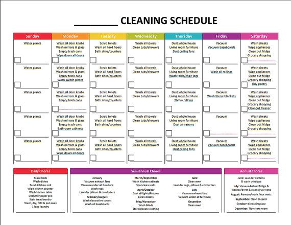 Printable Cleaning Schedule \ Master House Cleaning List Package - sample cleaning schedule template