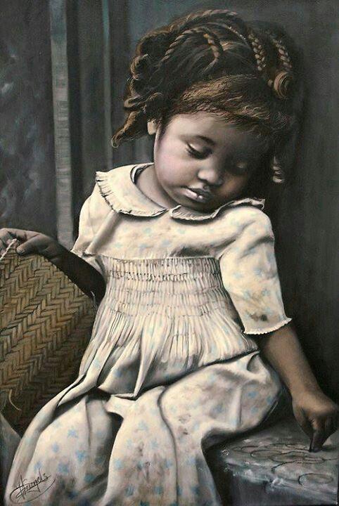 Painting of little Black girl