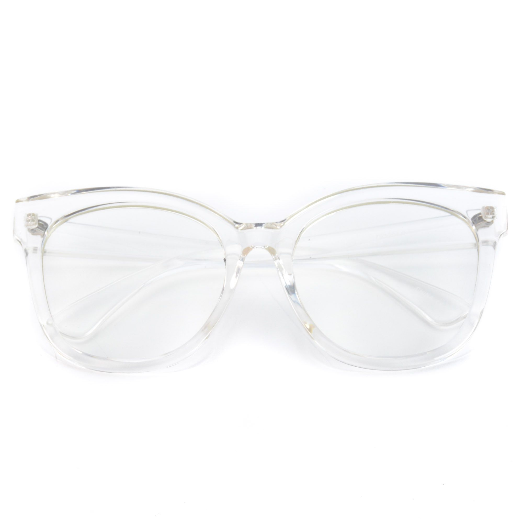 Whiskey Oversized Thick Frame Clear Cat Eye Non-Prescription Glasses ...