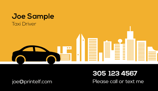 Personal Driver Business Cards Free Templates And Designs Free Business Card Templates Business Card Minimalist Taxi Driver