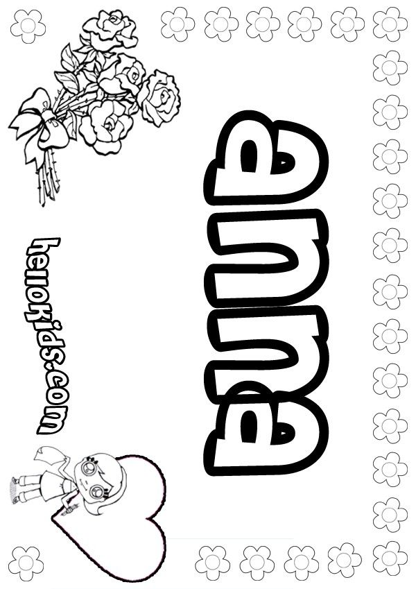 Girls Name Coloring Pages Anna Girly Name To Color Name Coloring Pages Coloring Pages For Girls Coloring Pages Inspirational