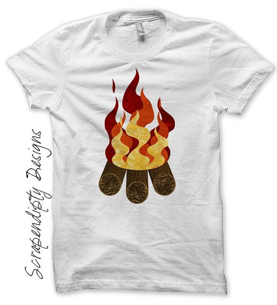 Campfire Iron on Transfer - Iron on Camping Shirt PDF / Family Hiking Trip  Tshirt /