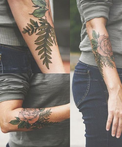 Pretty Fern Leaf And Rose Tattoo Design For Girls Men Flower Tattoo Tattoos Tattoos For Guys