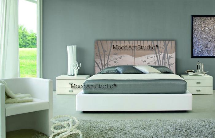 Cabecero de cama minimalista pintado a mano http://www.moodartstudio ...