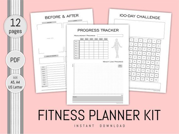 fitness planner printable health journal progress weight loss chart