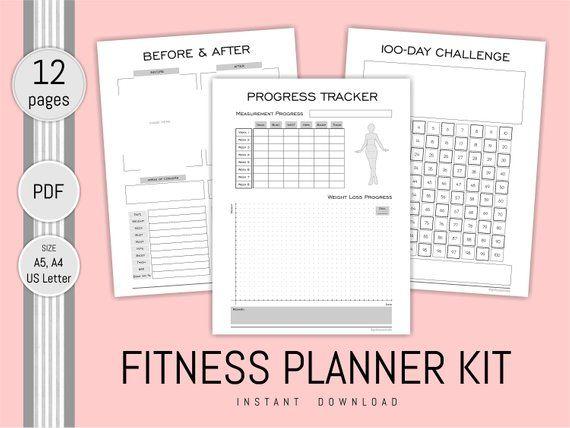Fitness planner printable health journal progress weight loss chart habit tracker meal shopping list also rh pinterest