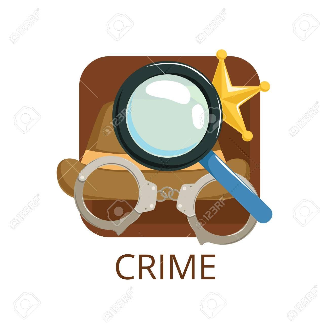 Crime cinema genre symbol for cinema theatre channel cinematography movie production vector Illustration