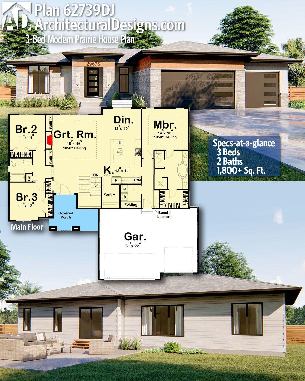 Plan 62739dj 3 Bed Modern Prairie House Plan In 2021 House Plans Modern House Plans New House Plans