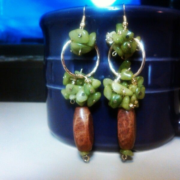 Green glass pebbles earrings$25.00 +Free shipping.Want to change color no worries