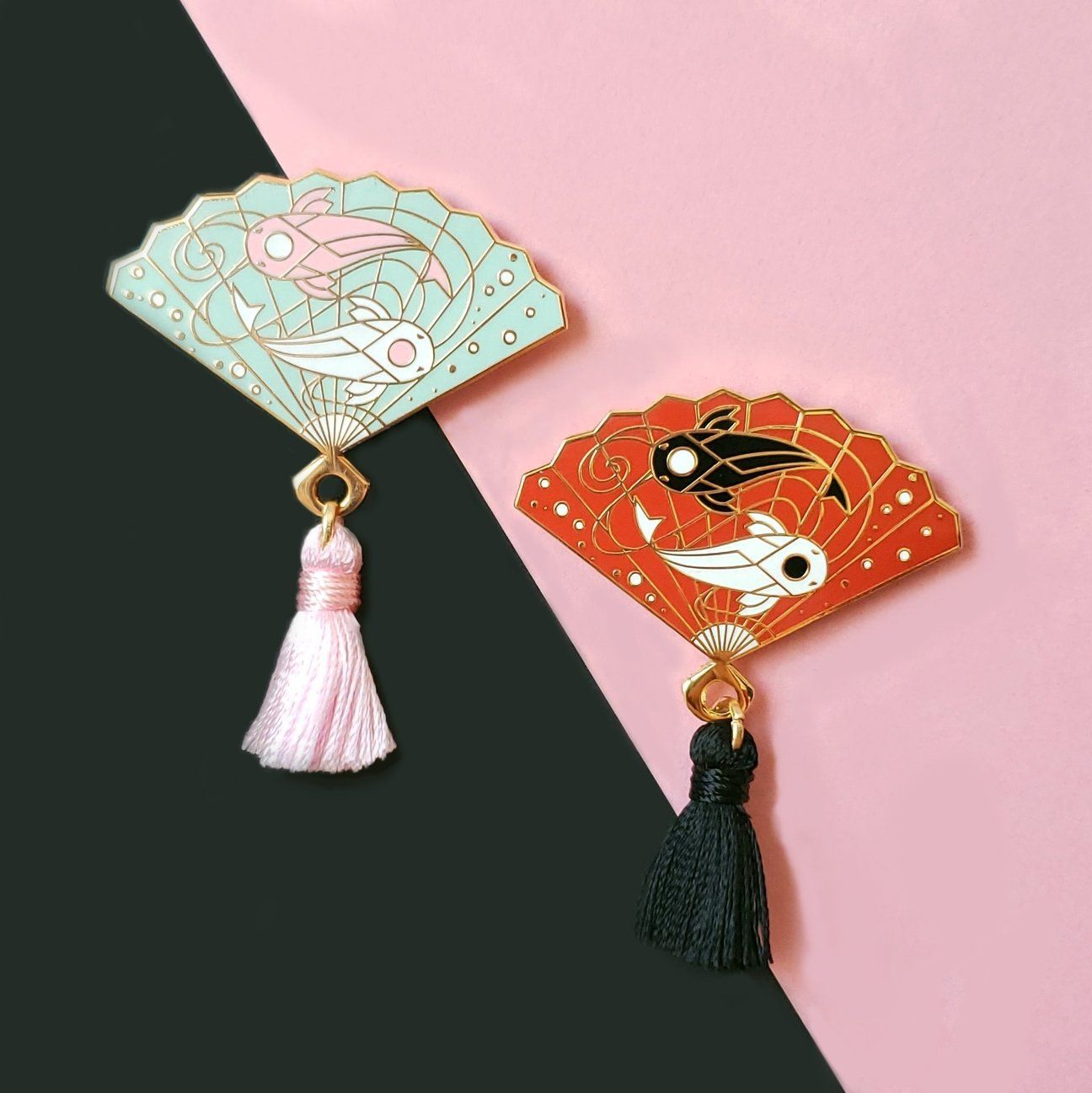 Koi Hand Fan Enamel Pin in 2019 | buttons/pins/patches ♡ | Metal