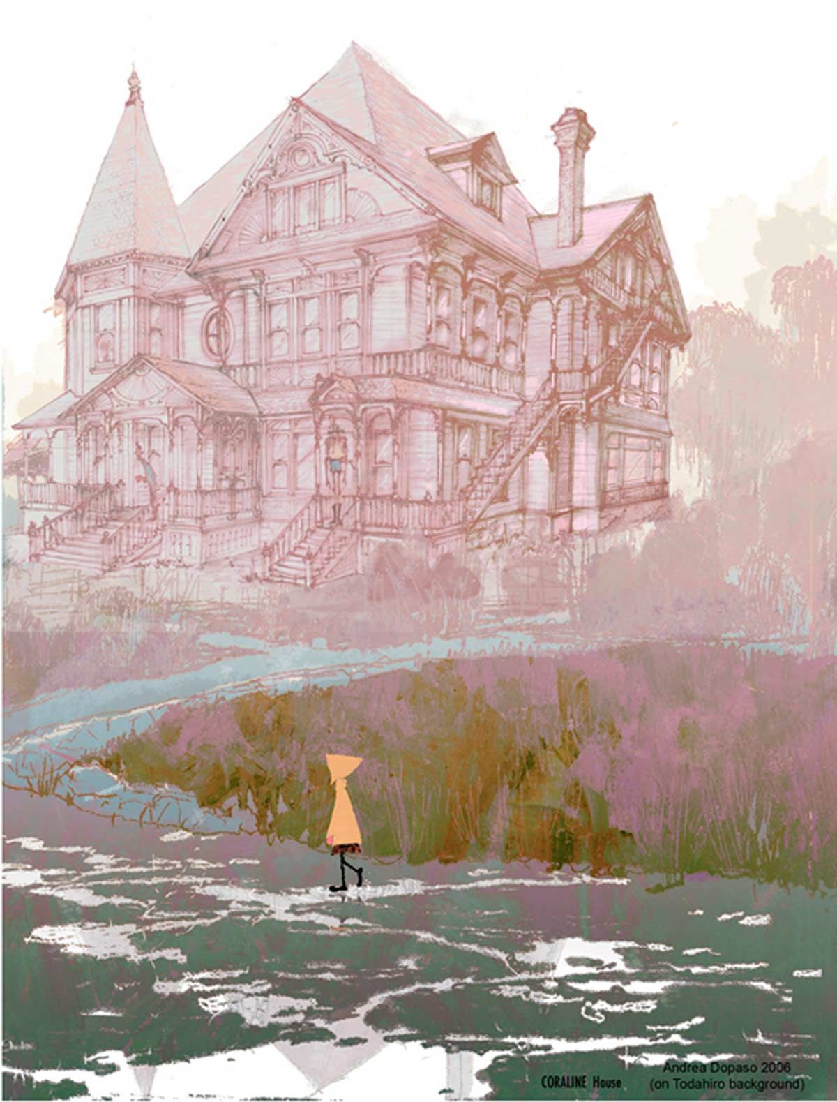 Coraline Pink Palace Drawing So So Nice Coraline Art Concept Art Animation Art