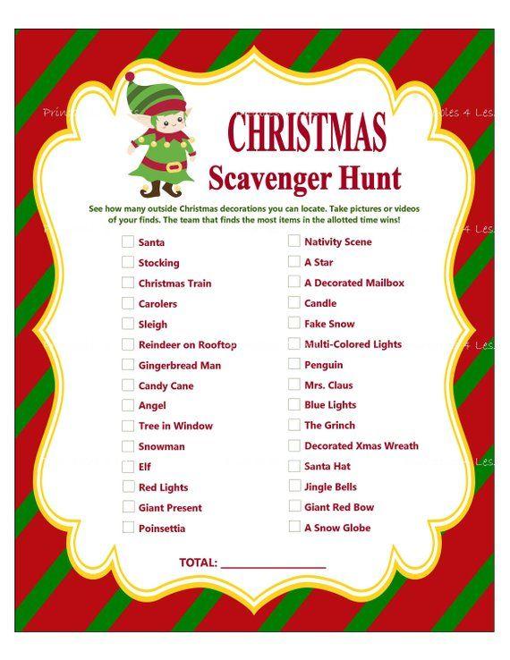 Christmas Scavenger Hunt, Printable Christmas Party Game, Holiday Party Game, Christmas Word Game, Christmas Group Game – Printables 4 Less