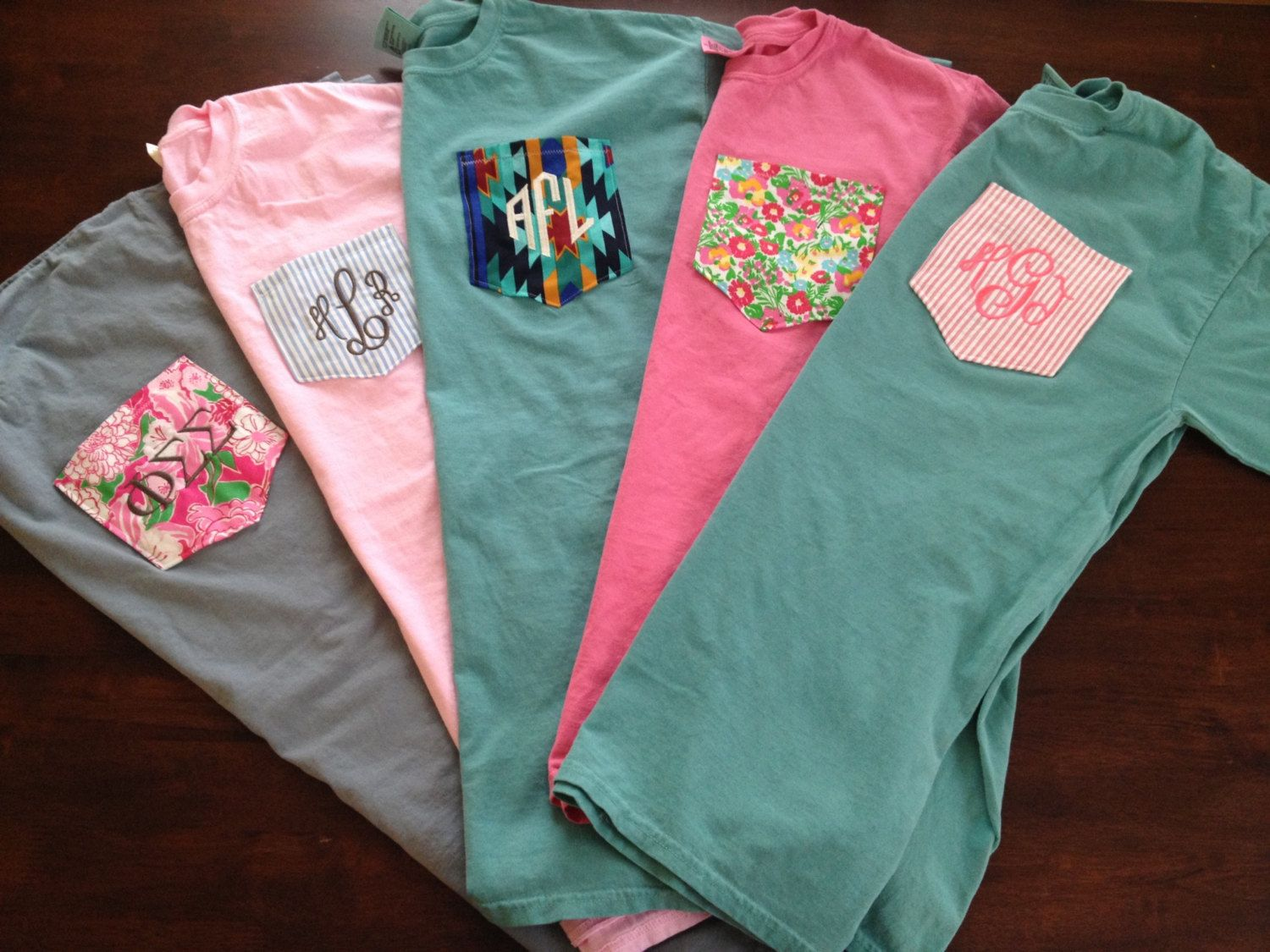 Monogrammed comfort colors custom pocket tee by for Custom t shirts with pockets