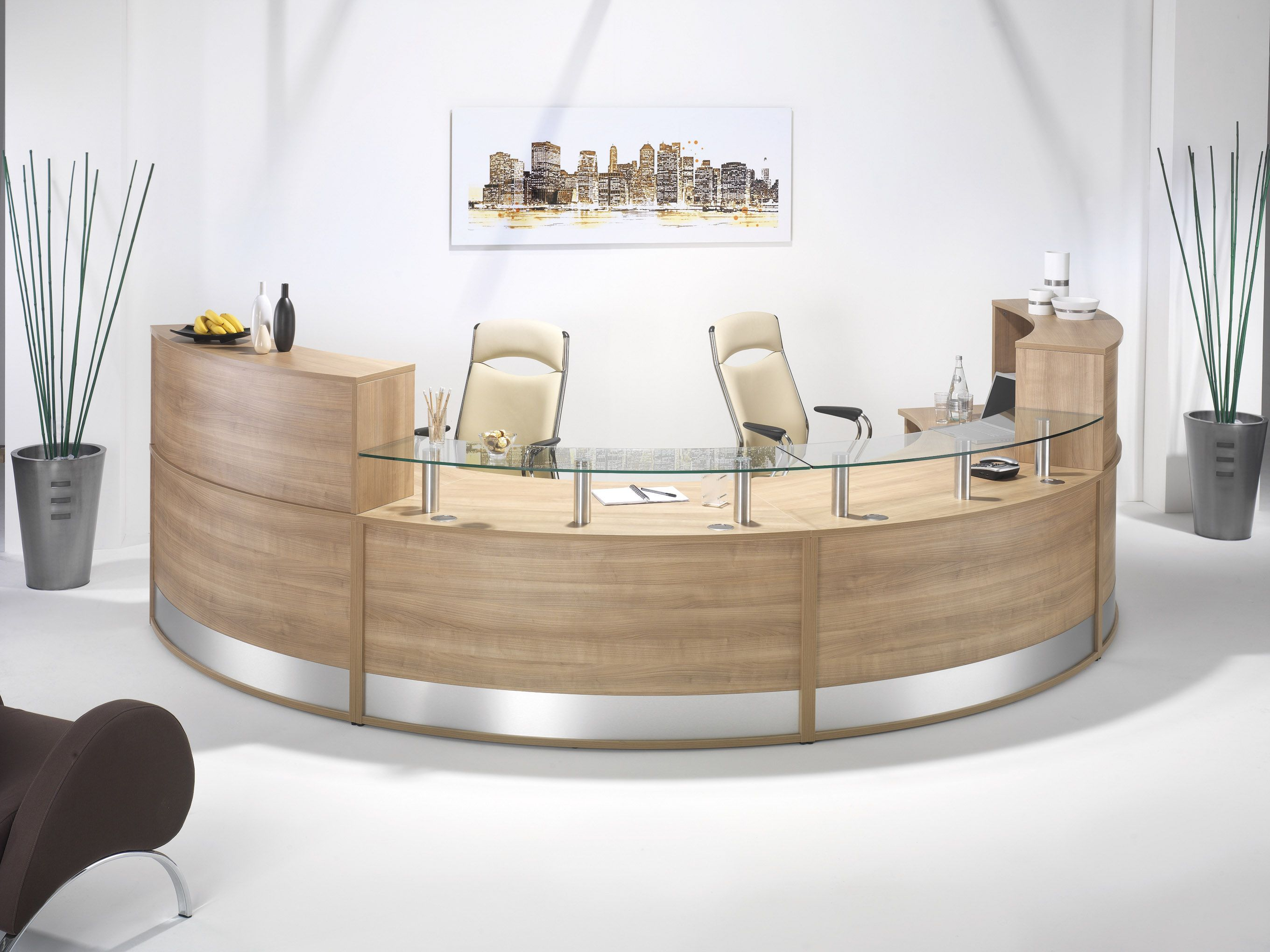 A Curved Reception Counter By Imperial Round Reception Desks