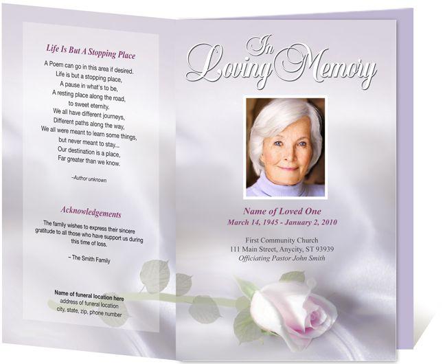 Elegant Memorials Programs or Funeral Bulletins: Beloved Funeral ...