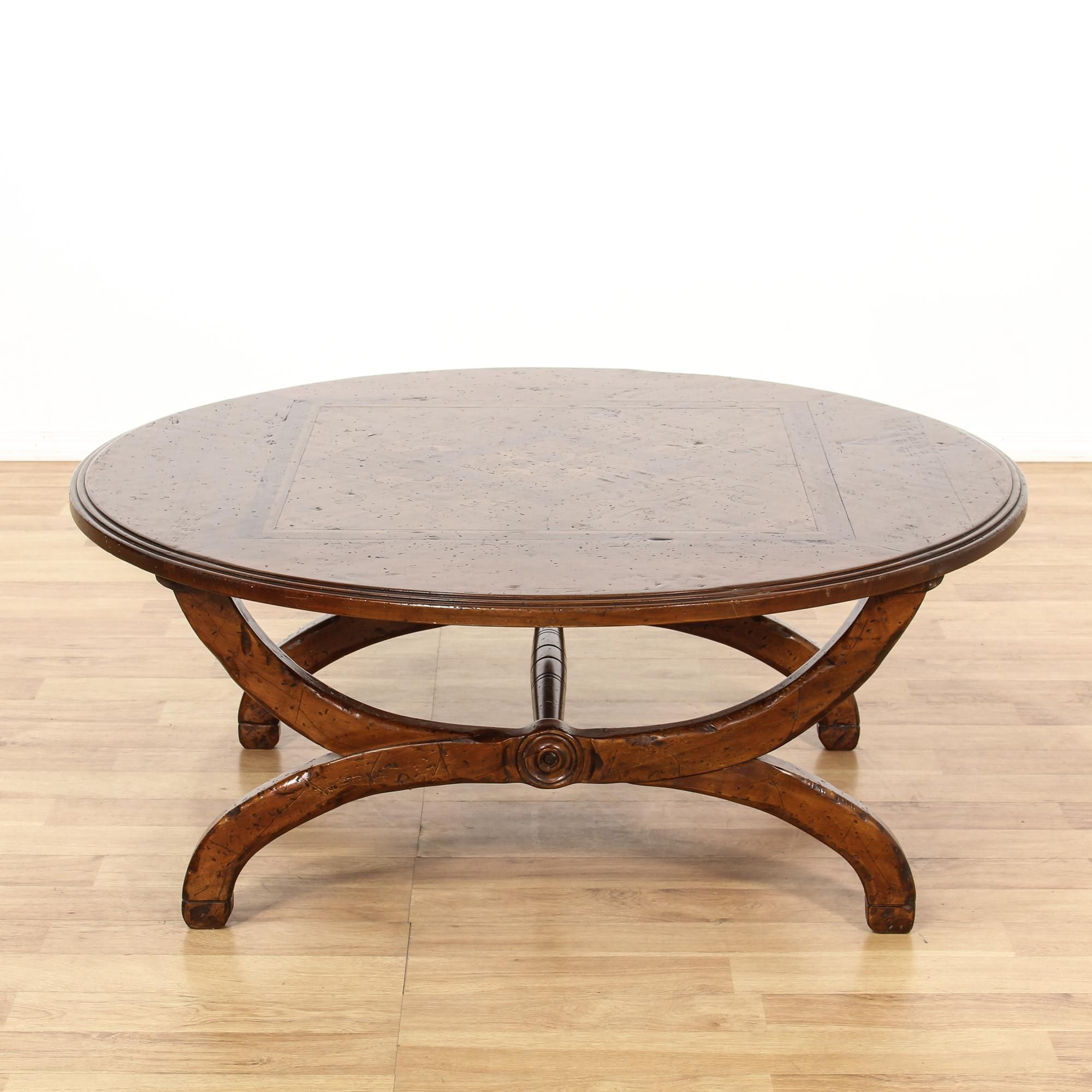 This Italian Coffee Table Is Featured In A Solid Wood With A Glossy Rustic Walnut Finish This Coffee Table Has A Round Ta Coffee Table Table Vintage Furniture