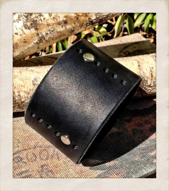 Men's black leather cuff bracelet with sliver rivets by TornTo, $30.00