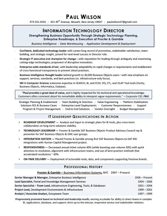 Business Intelligence Specialist Sample Resume Cool Resume Examples It Manager  Resume Examples  Pinterest  Sample .