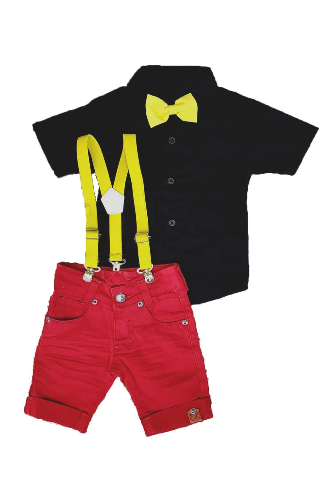 Look Menino Camisa Social E Calca Jeans Com Kit Suspensorio