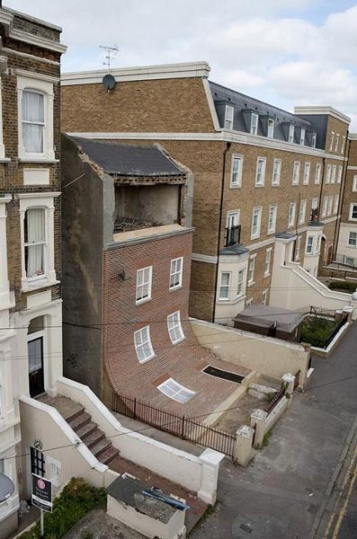 In England Melting House With A Facade That Slides Down Onto The Road Designtaxi Com Architecture Funny Pictures Margate