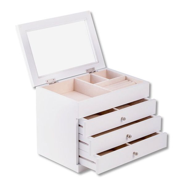 Perfect for storing her favorite pieces of jewelry, this pretty wood jewelry box has a white finish and blush-colored lining. A glass top completes the look.