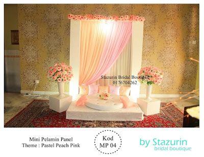 Mini Pelamin Tirai TunangPakej PerkahwinanBusana PengantinBuaian Berendoi Warna Pastel