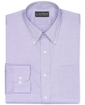 Lauren Ralph Lauren Non-Iron Medium Purple Solid Dress Shirt - Purple 16.5 34/35