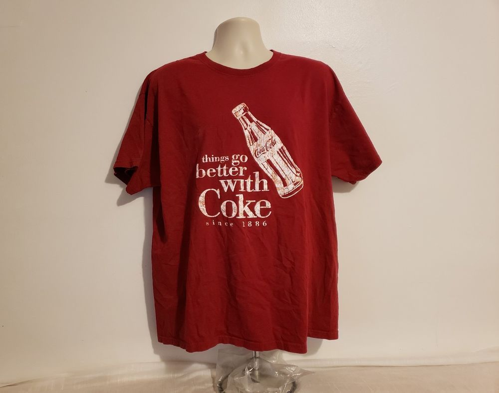 24ddfdd43 Things Go Better with Coke Coca Cola Adult Burgundy 2XL T-Shirt  #MissingNeckTag #GraphicTee