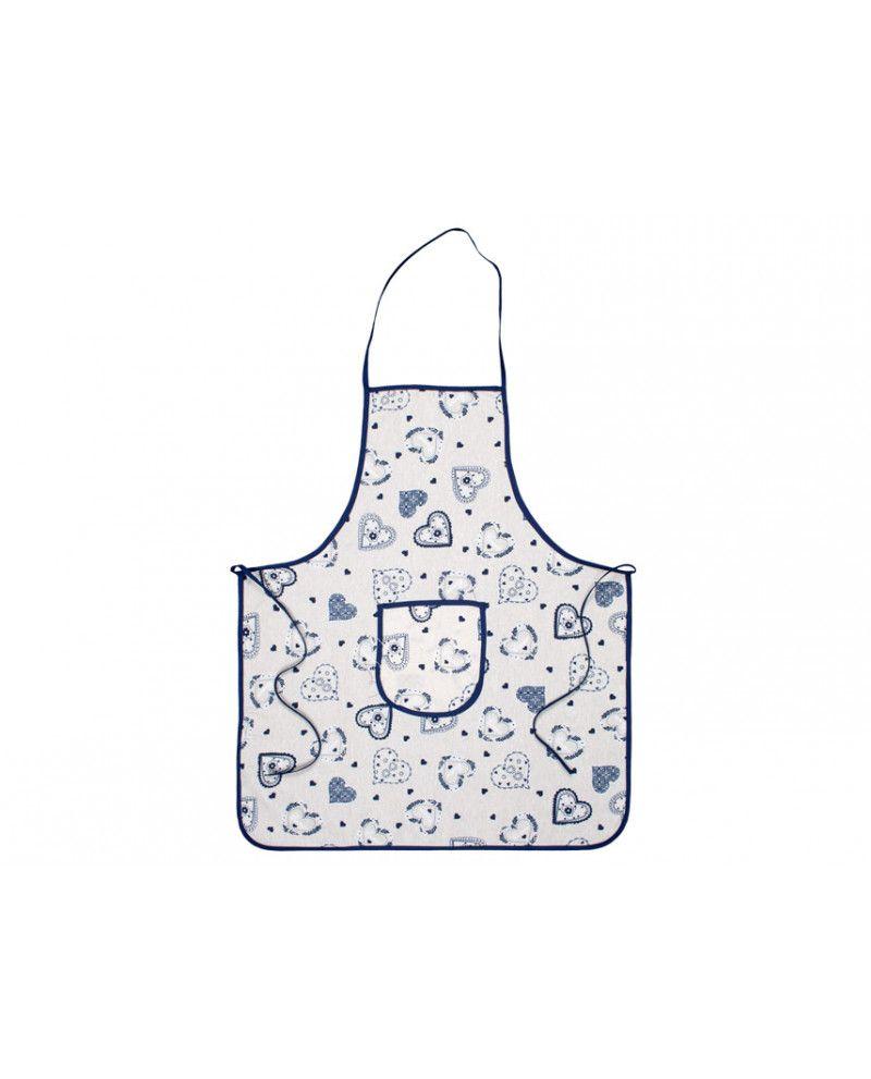 Precioso delantal con estampado de corazones en tonos azules de fácil limpieza y resistente. Más colores. Un delantal de calidad muy barato en Revitex online
