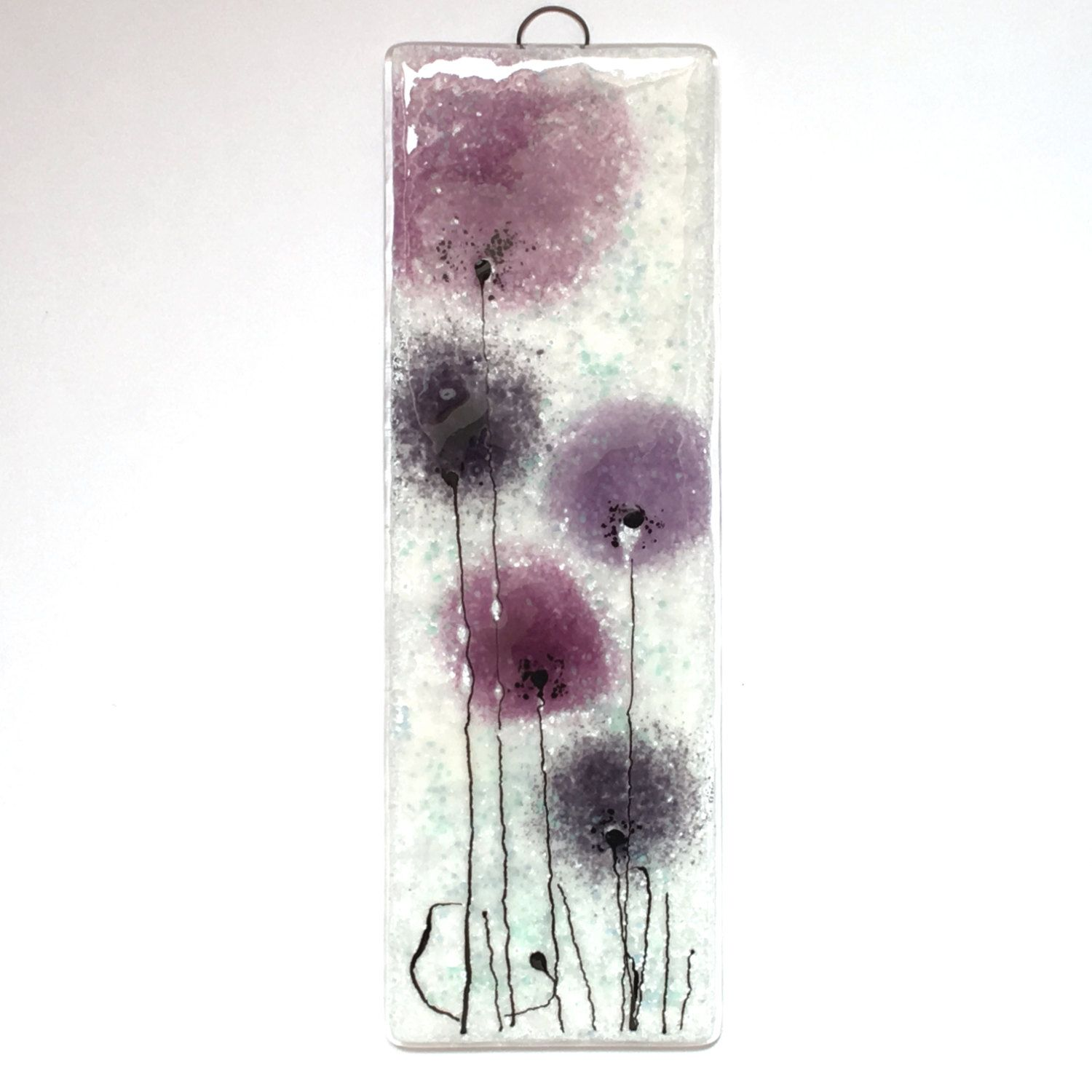 fused glass wall art - purple flowers - purple - violet - fused