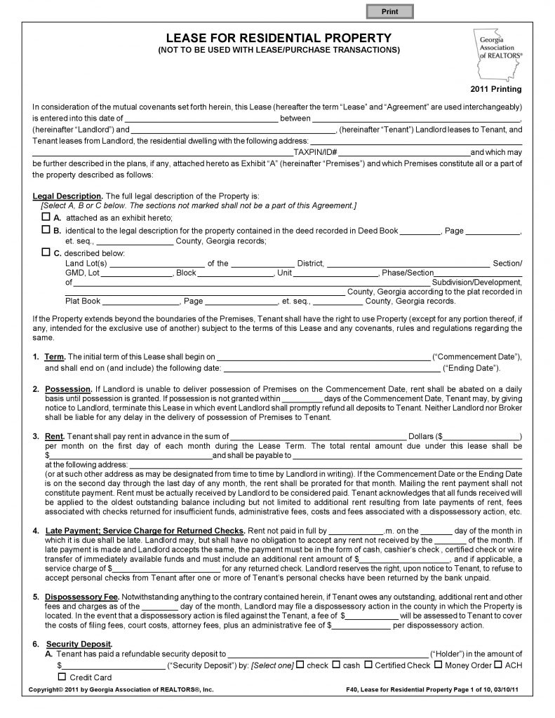 Residential Lease Agreement Template Free Download Blank Rental Intended For Free Residential Lease Agreement Template In 2020 Lease Agreement Tenancy Agreement Lease