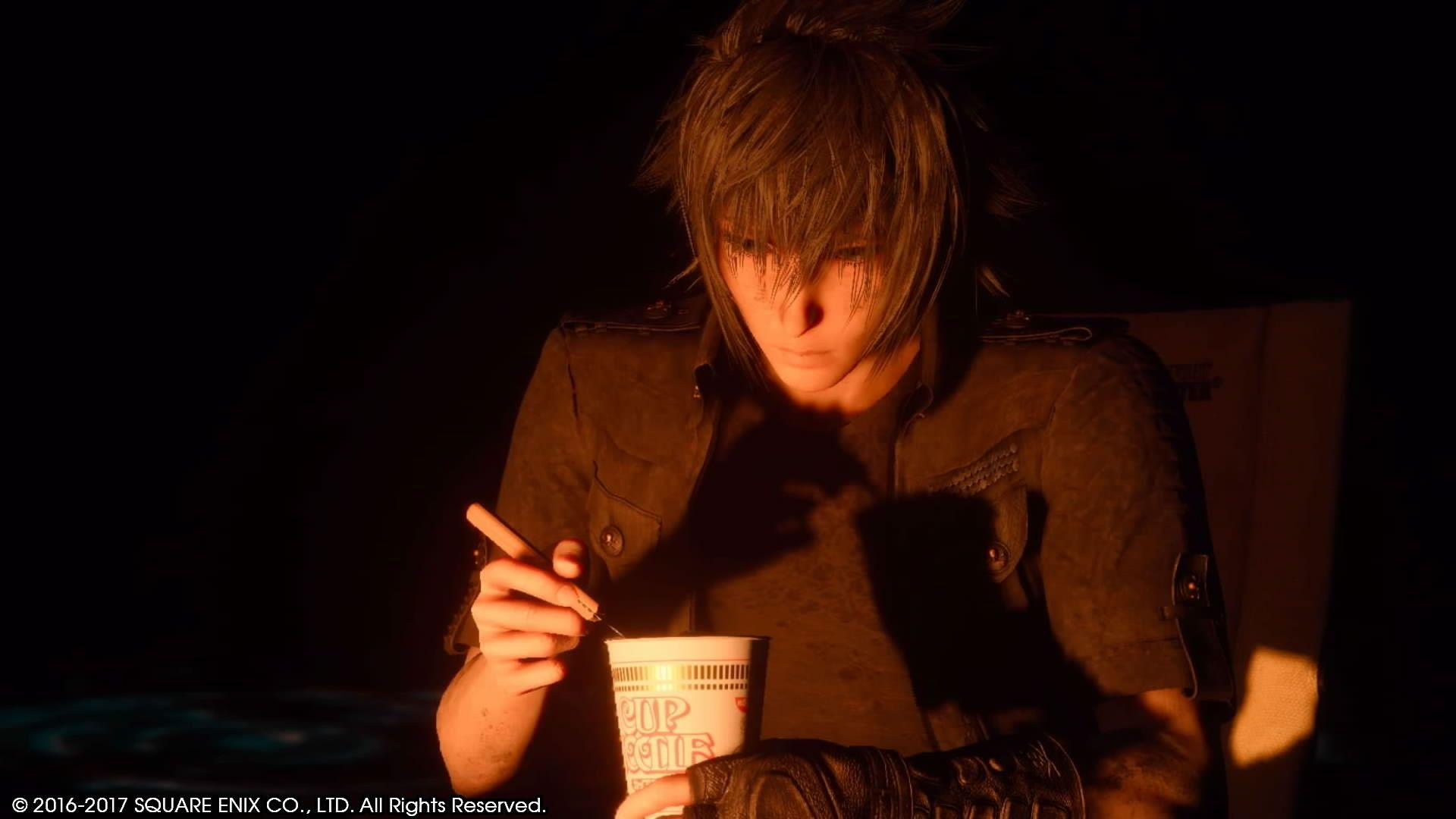 Enjoying Cup Noodles (or not... you can never tell from Noct's almost non-existent facial expressions)