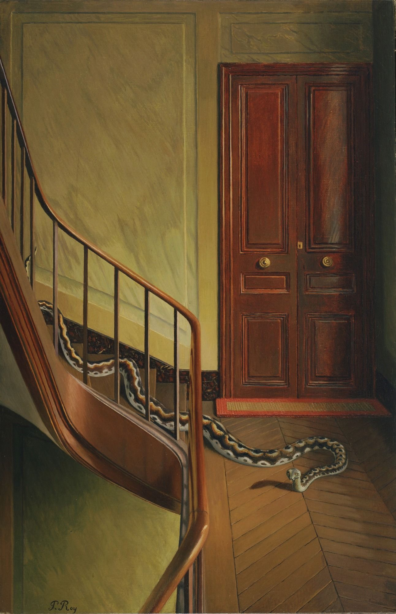 """12/4/16 Pierre Roy. Danger on the Stairs. 1927 or 1928. Oil on canvas. 36 x 23 5/8"""" (91.4 x 60 cm). Gift of Abby Aldrich Rockefeller. 142.1935. Painting and Sculpture  I like this piece because it looks like an illustration out of a book. Roy is a French artist."""