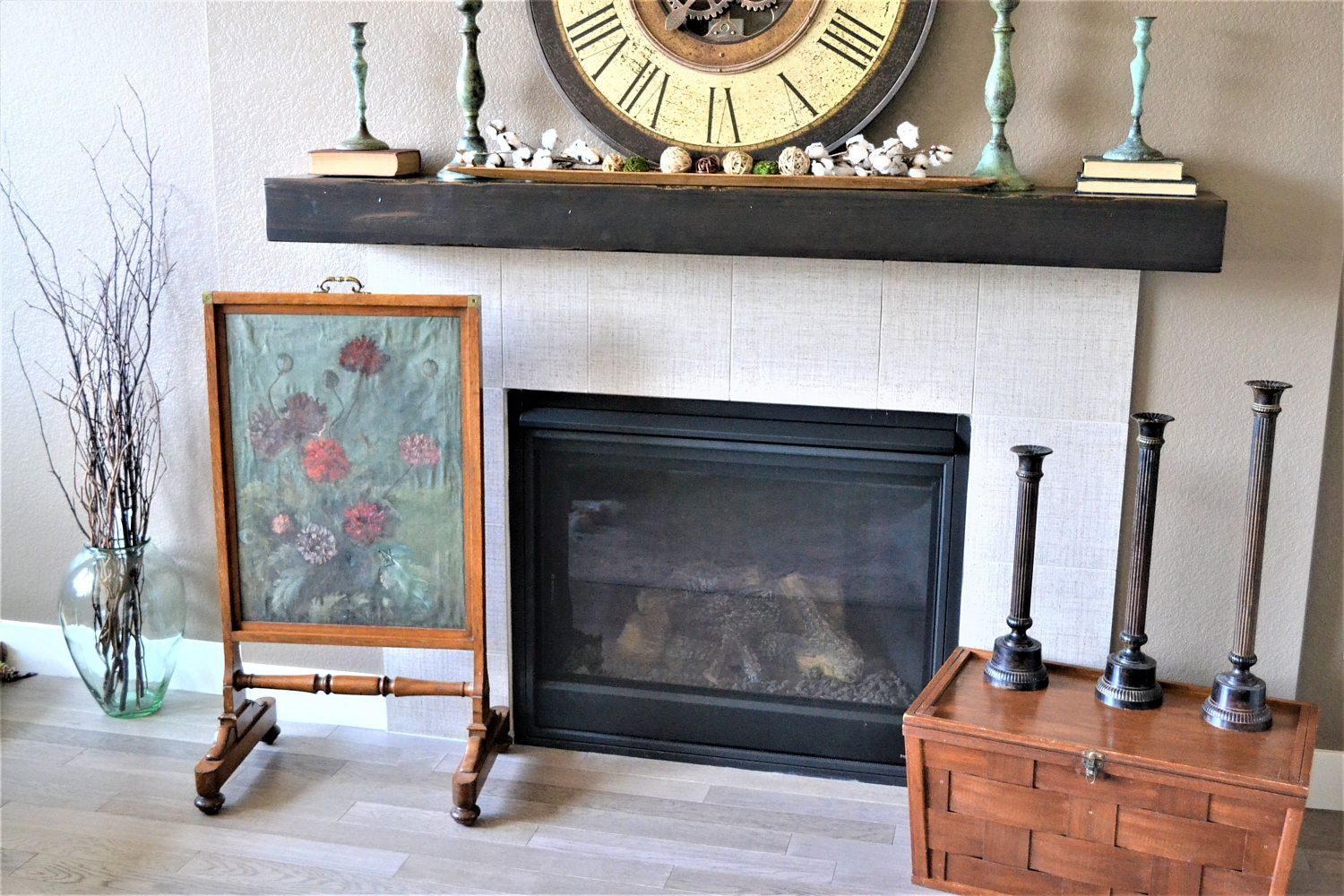 Antique Fire Screen Hand Painted Fireplace Screen Antique Oil