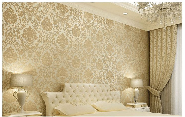 Vintage Classic Beige French Modern Damask Feature Wallpaper Wall Paper Roll For Living Room Bedro Beige Living Rooms Wallpaper Walls Bedroom Wallpaper Bedroom