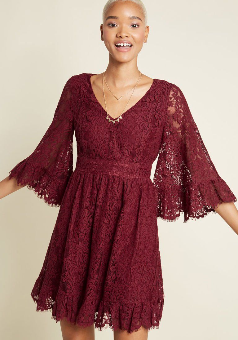 4f8a9d4714a Through the Bluebells A-Line Dress in Burgundy Lace