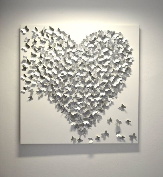 3d Silver Butterfly Art Hollywood Regency Glam Por Ronandnoy 350 00 Silver Wall Art Butterfly Wall Art 3d Butterfly Wall Art