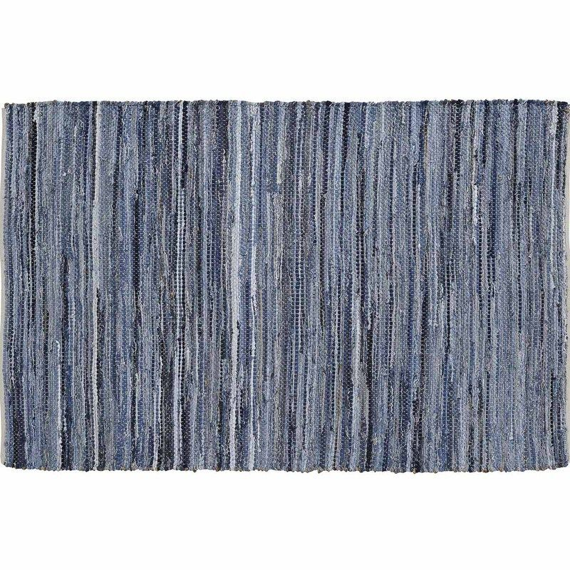 Denim Hemp Chindi Rag Rug Rect 36x60 Rag Rug Cotton Rug Blue Area Rugs