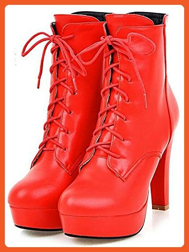 Summerwhisper Women's Stylish Round Toe Lace-up Booties Chunky High Heels Platform Ankle Boots Red 9 B(M) US - Boots for women (*Amazon Partner-Link)
