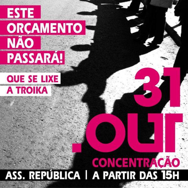#31out Movimento. 31 de Outubro, a partir das 15 horas, concentramo-nos em frente à Assembleia da República, onde estará a ser votado na generalidade um Orçamento que nada resolve e a todos esmaga. Vamos, ao longo da tarde, em ruído e grito contínuos, votar contra este orçamento ! (arte: Rita Gorgulho para a vigília/concentração de dia 31) https://www.facebook.com/events/365349623548517/