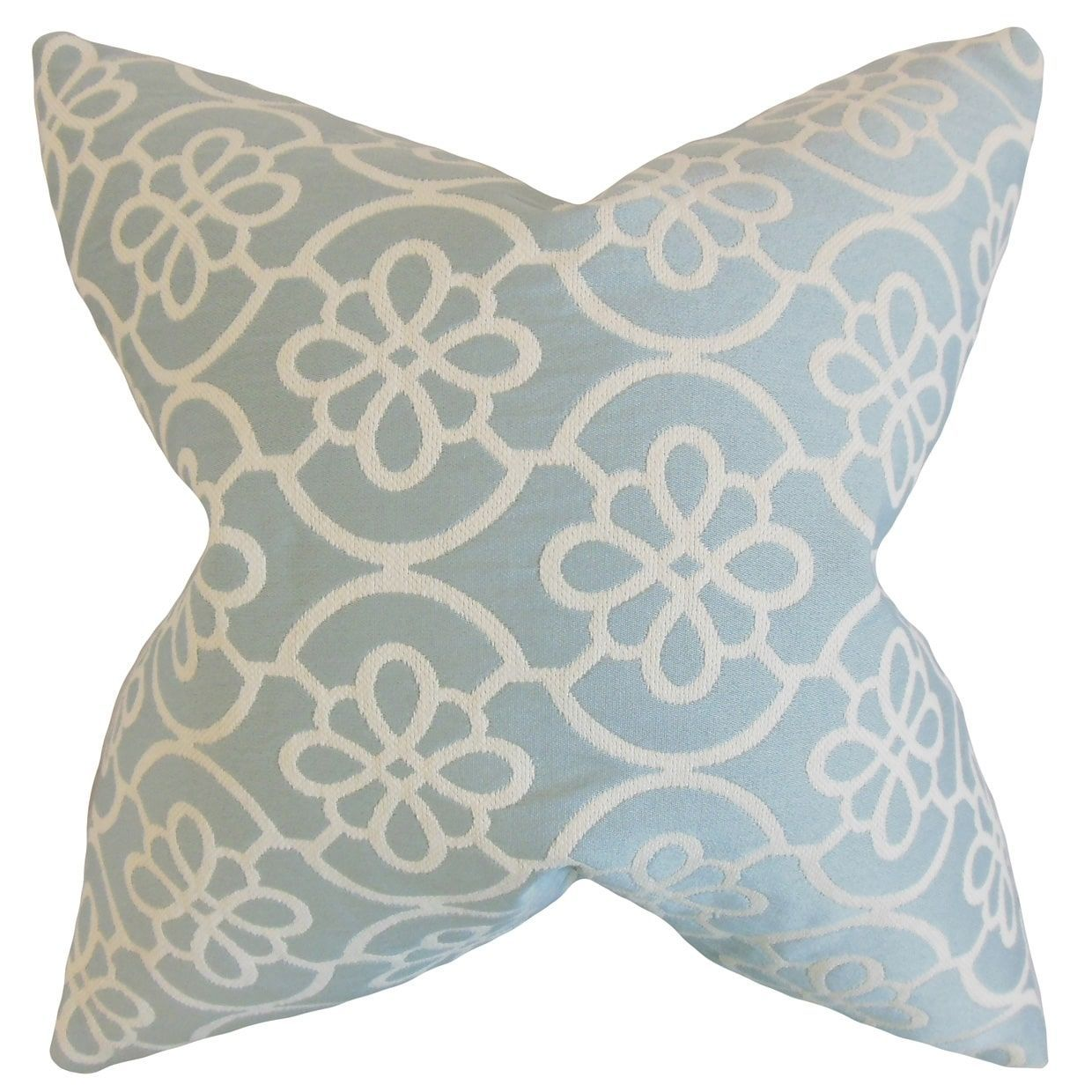 Indre geometric feather filled sea foam throw pillow inch blue