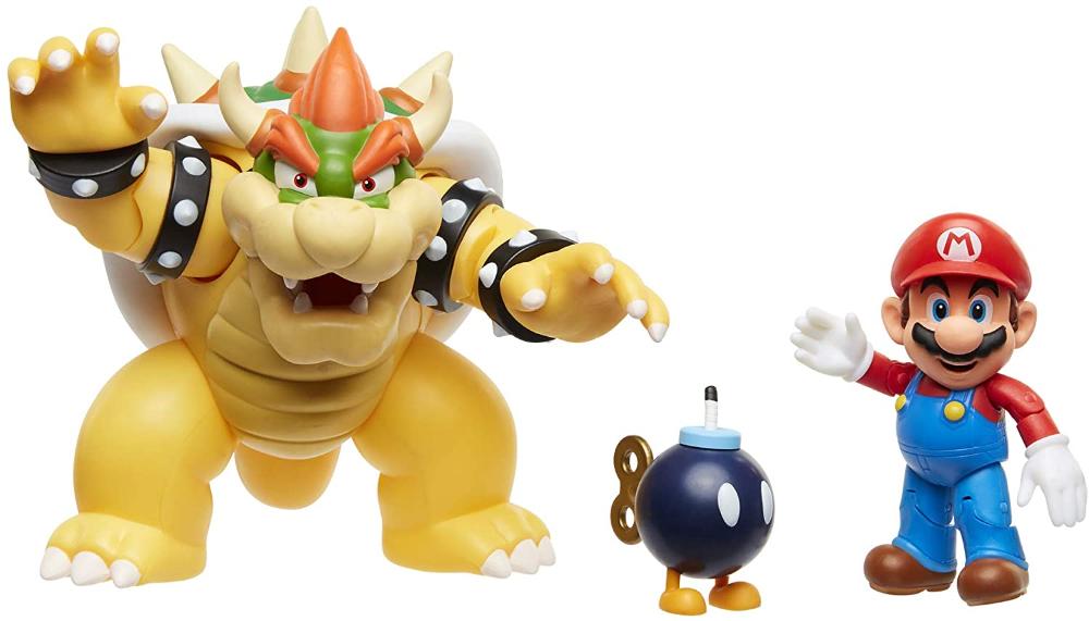 Amazonsmile Super Mario Nintendo Bowser Vs Mario Diorama Figure 3 Pack Toys Games World Of Nintendo Figures Bowser Action Figures