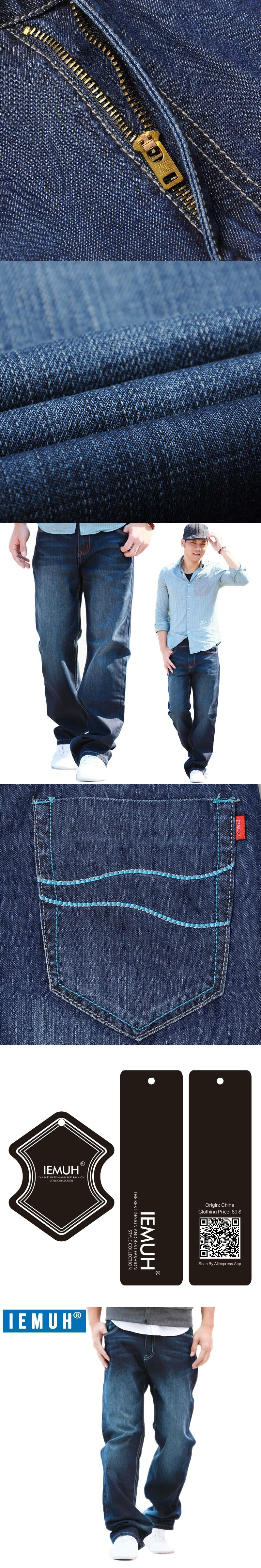 ca6492fd032 IEMUH Plus Size Jeans Man Denim Jeans Casual Middle Waist Loose Long Pants  Male Solid Straight