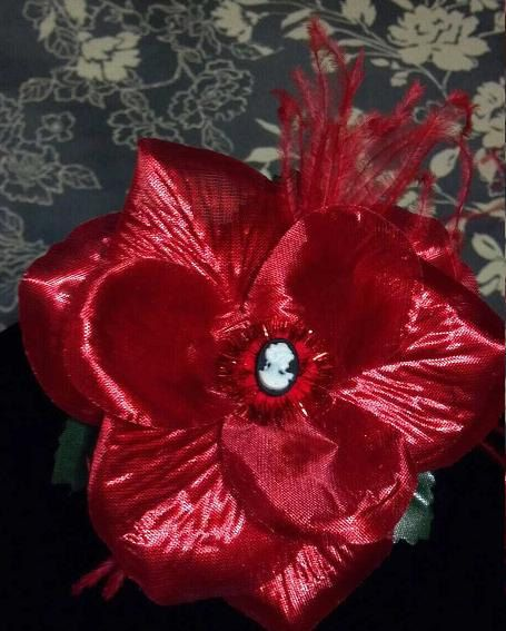 FREE SHIPPING RED hair flower clip by BEE4DOTCOM on Etsy, $12.00