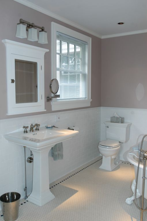 Subway hex tiles with taupe and white color scheme feels for Bathroom design manchester