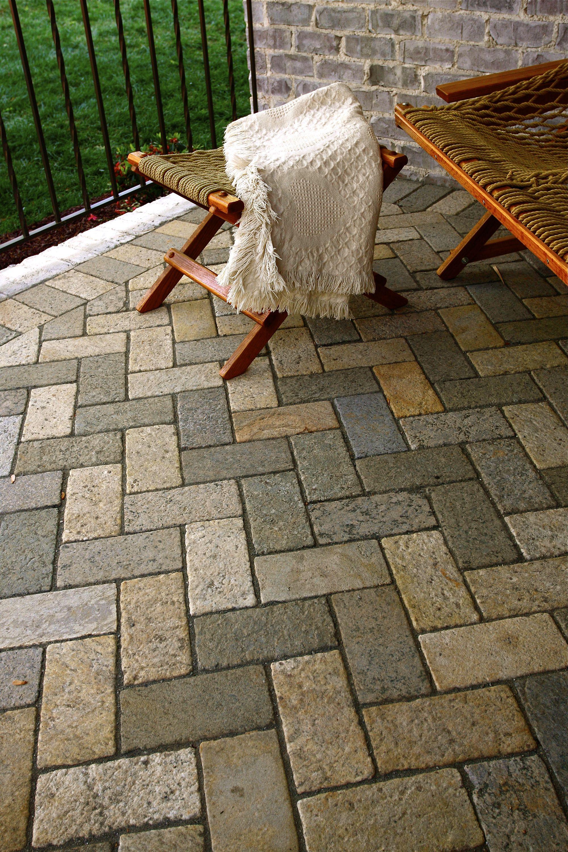 Brick Paver Patio Herringbone 4x8