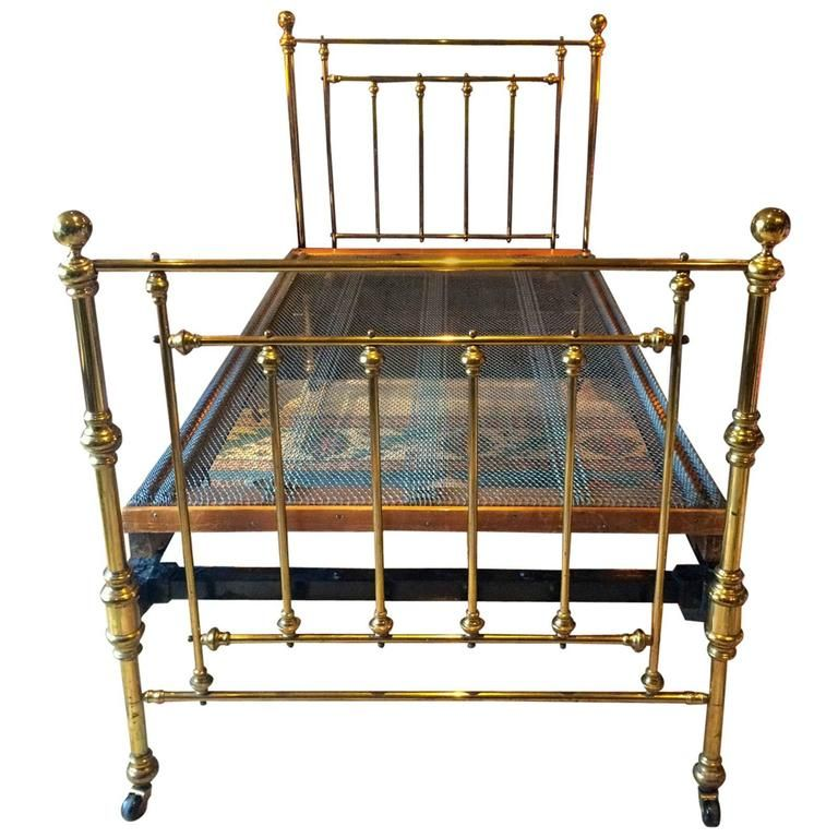 Antique Bed Victorian Single Brass Bed 19th Century Base Casters 1