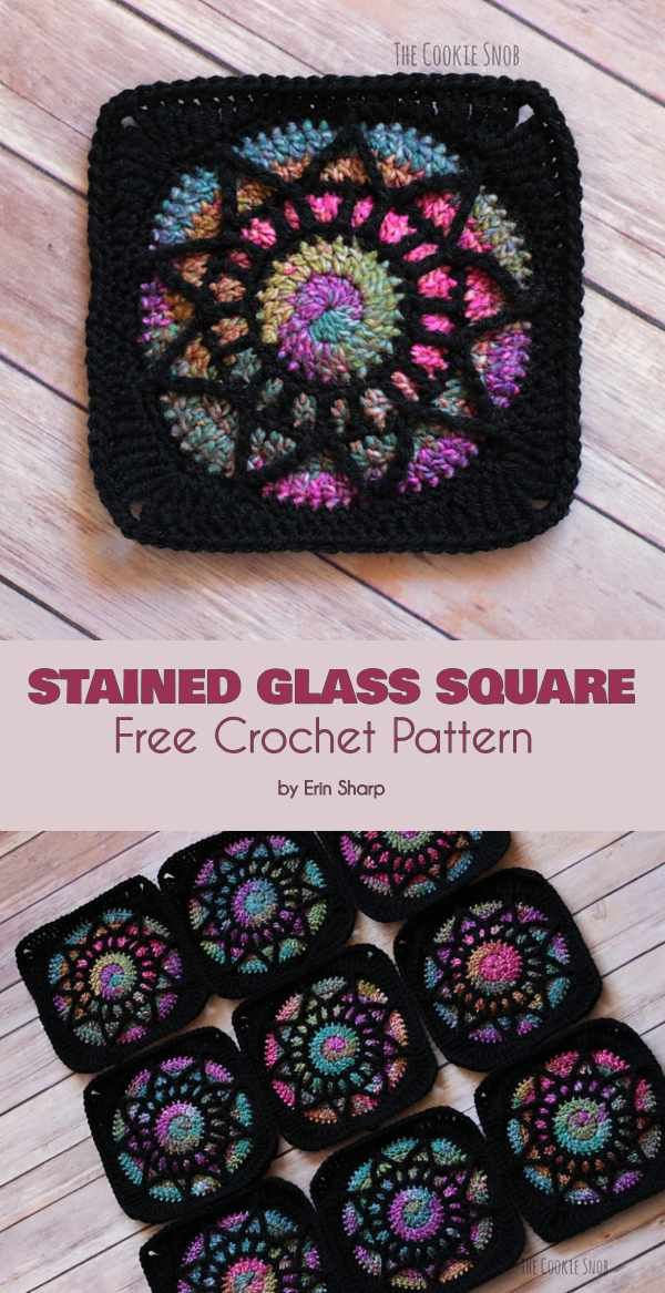 Stained Glass Square Free Crochet Pattern #crochet
