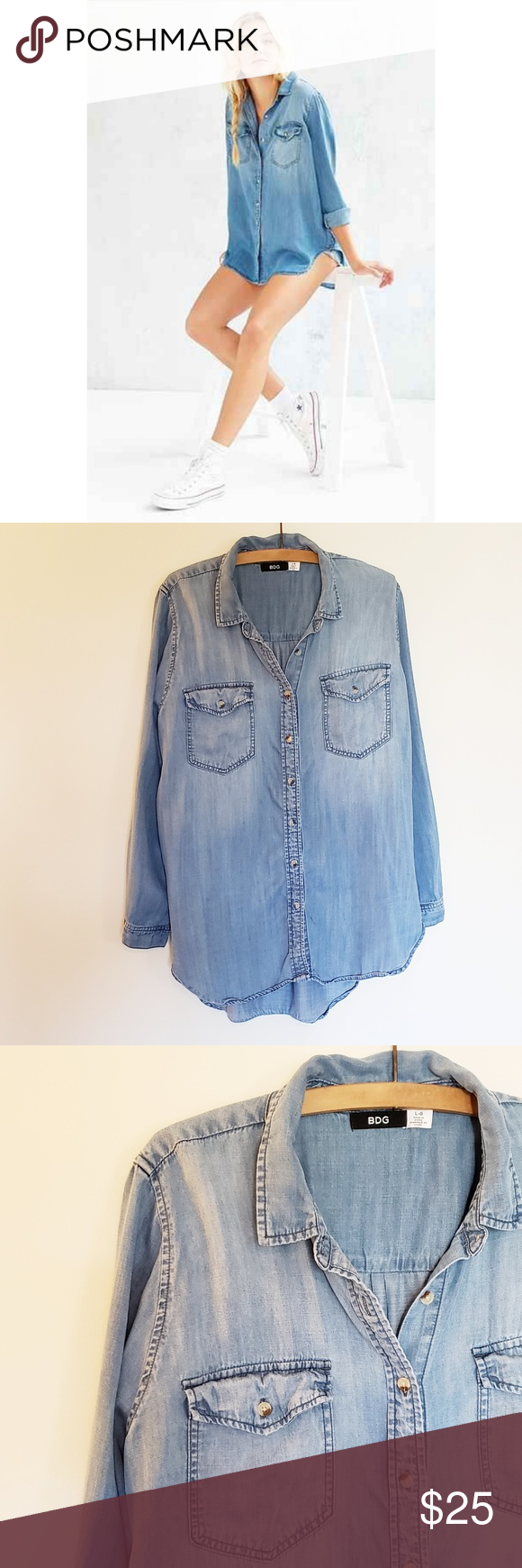 b1be6bd05 ▫️BDG▫ Urban outfitters drapey chambray button up shirt. Cozy! Urban  Outfitters