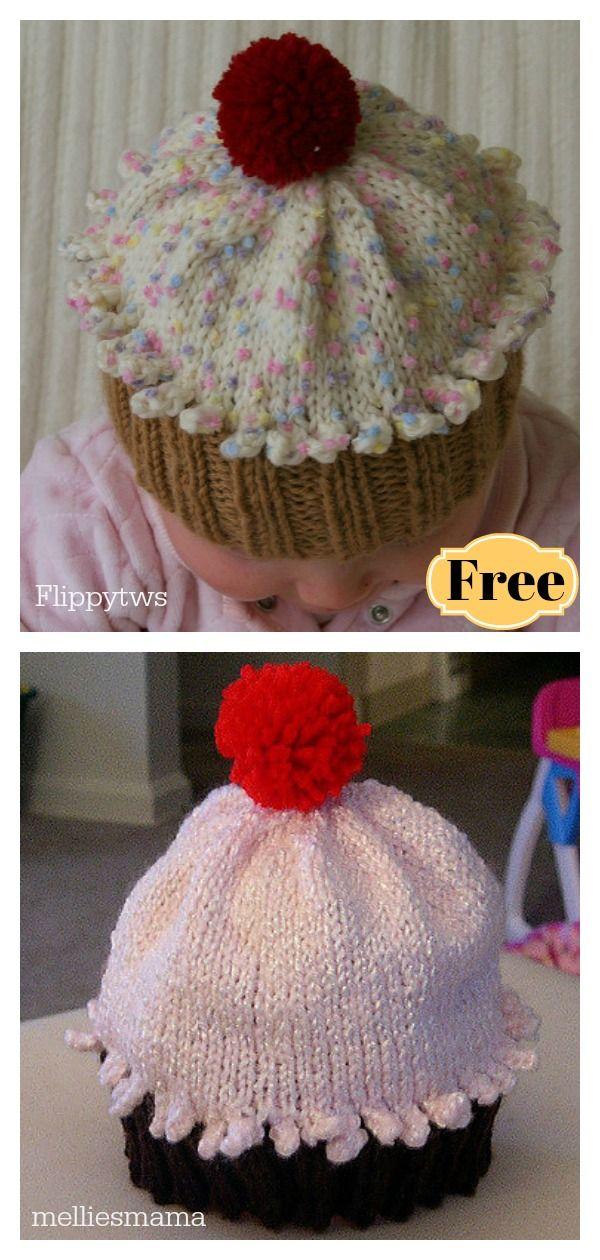 Cupcake Hat Free knitting Pattern   Baby hats knitting ...